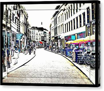 Dutch Shopping Street- Digital Art Canvas Print by Carol Groenen
