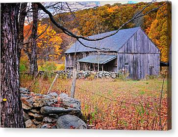 Side Porch Canvas Print - A Hidden Connecticut Rustic Barn-autumn Scenic Litchfield Hills by Expressive Landscapes Fine Art Photography by Thom