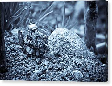 Dwarf Lost In The Enchanted Forest Canvas Print by Marc Garrido