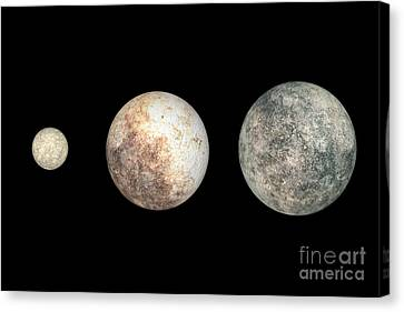 Dwarf Planets Ceres, Pluto, And Eris Canvas Print by Walter Myers