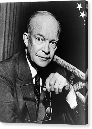 Canvas Print featuring the photograph Dwight D Eisenhower - President Of The United States Of America by International  Images