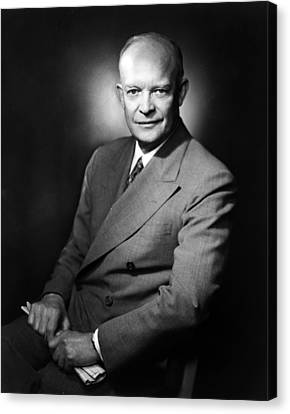 Canvas Print featuring the photograph Dwight Eisenhower - President Of The United States Of America by International  Images