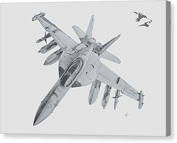 Electronic Canvas Print - Ea-18g Growler by Nicholas Linehan