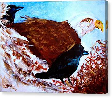Eagle And Ravens Canvas Print by Seth Weaver