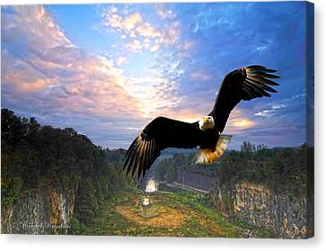 Canvas Print featuring the photograph Eagle At Paint Creek Dam by Randall Branham