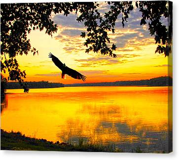 Canvas Print featuring the photograph Eagle At Sunset by Randall Branham
