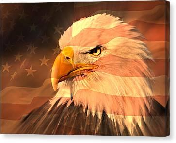 Eagle On Flag Canvas Print by Marty Koch