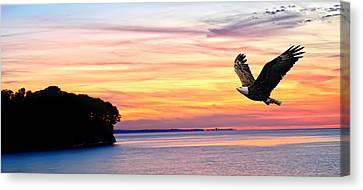 Canvas Print featuring the photograph Eagle Sunrise by Randall Branham