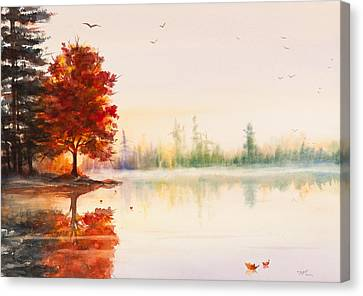 Early Autumn Reflections Watercolor Painting Canvas Print by Michelle Wiarda