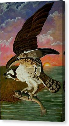 Early Catch-sunrise On The Ogeechee Canvas Print by Teresa Grace Mock
