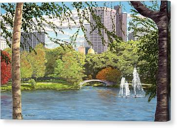 Early Color On Esplanade Canvas Print by William Frew