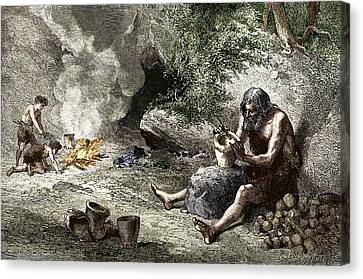 Early Humans Making Pottery Canvas Print by Sheila Terry