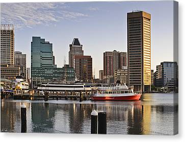 Canvas Print featuring the photograph Early Morning Baltimore Inner Harbor by Marianne Campolongo