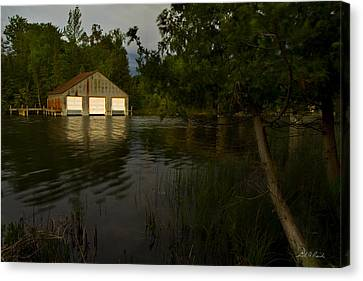Early Morning Clam Lake Channel Canvas Print by Frederic A Reinecke