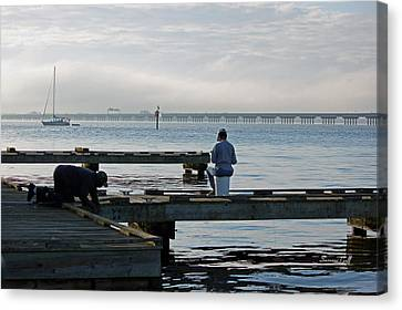 Early Morning Crabbing Canvas Print by Suzanne Gaff
