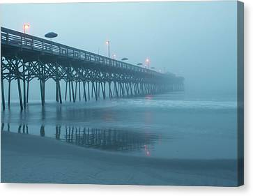Early Morning Fog At Garden City Pier Canvas Print