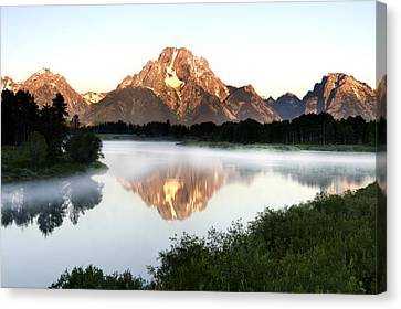 Early Morning Fog Oxbow Bend Canvas Print by Paul Cannon