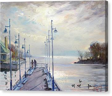 Early Morning In Lake Shore Canvas Print by Ylli Haruni