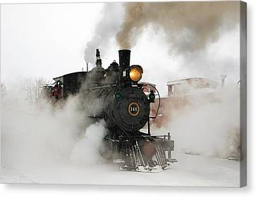 Early Morning Winter Steam Up Canvas Print by Ken Smith