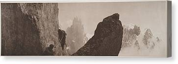 Early Mountaineering In The Alps Canvas Print by Georges Tairraz