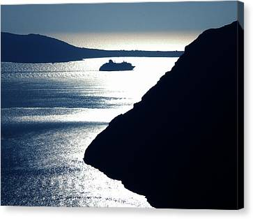 Canvas Print featuring the photograph Early Night Santorini Island Greece by Colette V Hera  Guggenheim