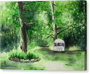 Canvas Print featuring the painting Early Summer At The Geddes Farm --ann Arbor Michigan by Yoshiko Mishina