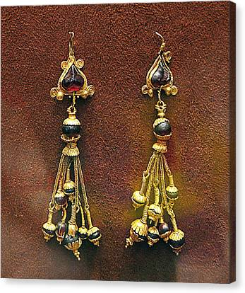 Earrings With Garnets Canvas Print by Andonis Katanos