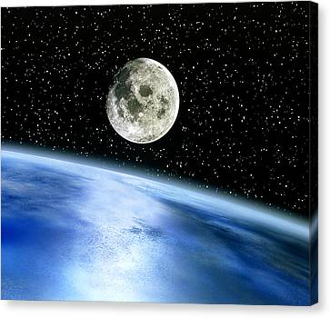 Earth And Moon Canvas Print by Julian Baum
