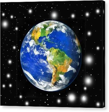 Earth And Stars Canvas Print by Odon Czintos