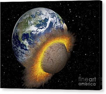 Earth Colliding With A Mars-sized Canvas Print