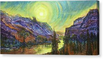 Earth Light Series Wolf Butte Sun Canvas Print by Len Sodenkamp