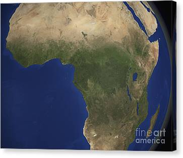 Earth Showing Landcover Over Africa Canvas Print by Stocktrek Images