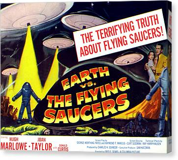 Earth Vs. The Flying Saucers, Far Right Canvas Print by Everett