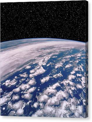 Earth With Starfield Canvas Print by NASA / Science Source