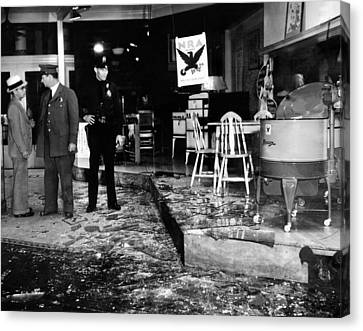Earthquake Damages A Store In The Heart Canvas Print by Everett