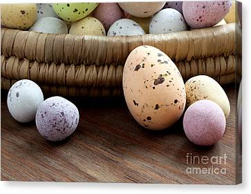 Small Basket Canvas Print - Easter Eggs In A Wicker Basket by Richard Thomas