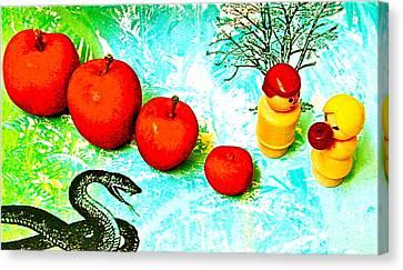 Eating Apples Canvas Print by Ricky Sencion