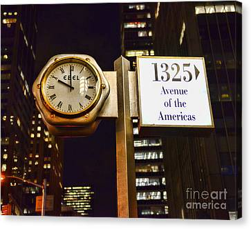 Ebel Street Clock In Nyc Canvas Print by Paul Ward