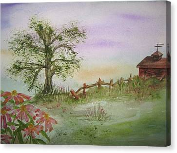 Echinacea And Crooked Fence Canvas Print by Ellen Levinson