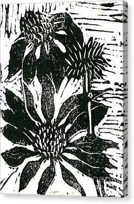 Echinacea Block Print Canvas Print by Ellen Miffitt