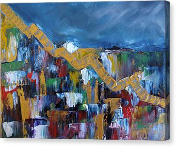 Canvas Print featuring the painting Economic Meltdown by Judith Rhue