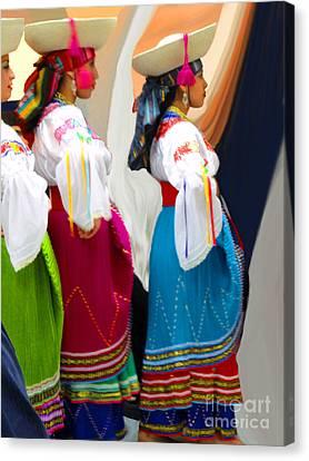 Troupe Canvas Print - Ecuadorian Dance Troupe by Al Bourassa