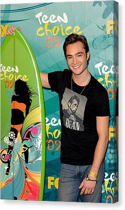 Ed Westwick In The Press Room For Teen Canvas Print by Everett