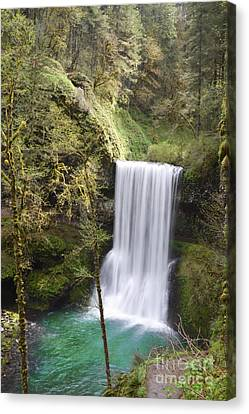 Oregon Waterfall Forest Landscape Canvas Print by Andrea Hazel Ihlefeld