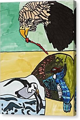 Bluejay Canvas Print - Effortless Movement by Stephanie Ward
