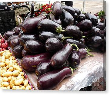 Eggplants And Fingerling Potatoes Canvas Print by David Bearden