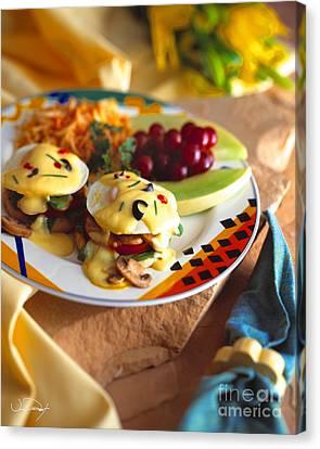 Eggs Benedict Breakfast Canvas Print by Vance Fox