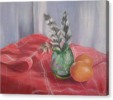 Canvas Print featuring the painting Eggs Feathers And Glass by Carol Berning