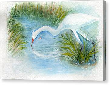Canvas Print featuring the painting Egret Fishing Creek by Doris Blessington