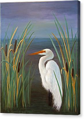 Canvas Print featuring the painting Egret In Cattails by Janet Greer Sammons